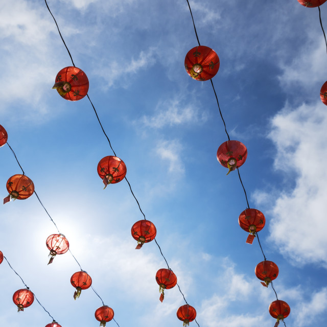 """""""Red Lanterns Against Blue Sky"""" stock image"""