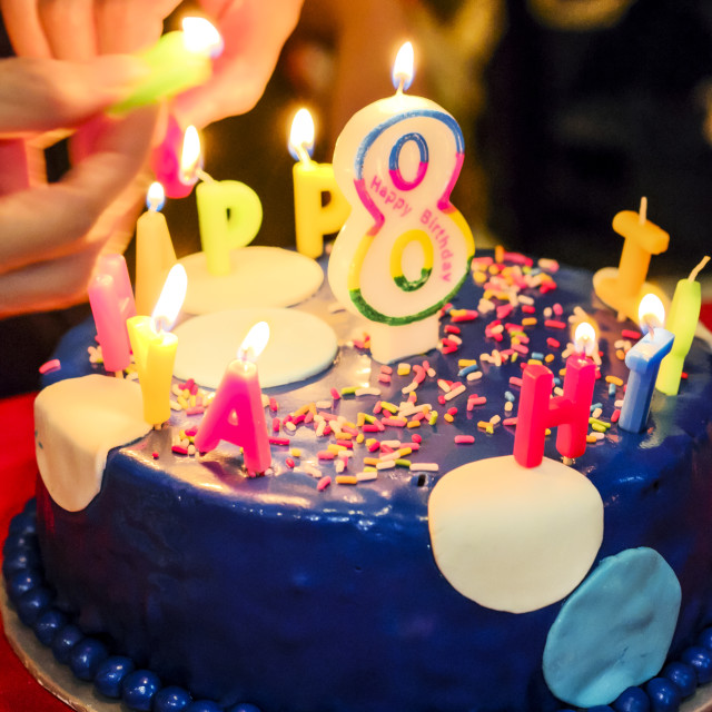 """Happy Birthday Cake With Candles"" stock image"