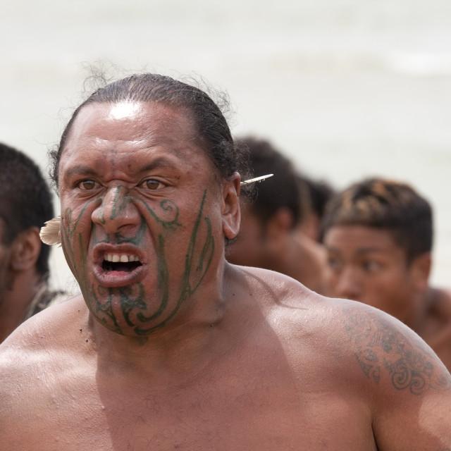 """Maori warrior with fake tattoo"" stock image"
