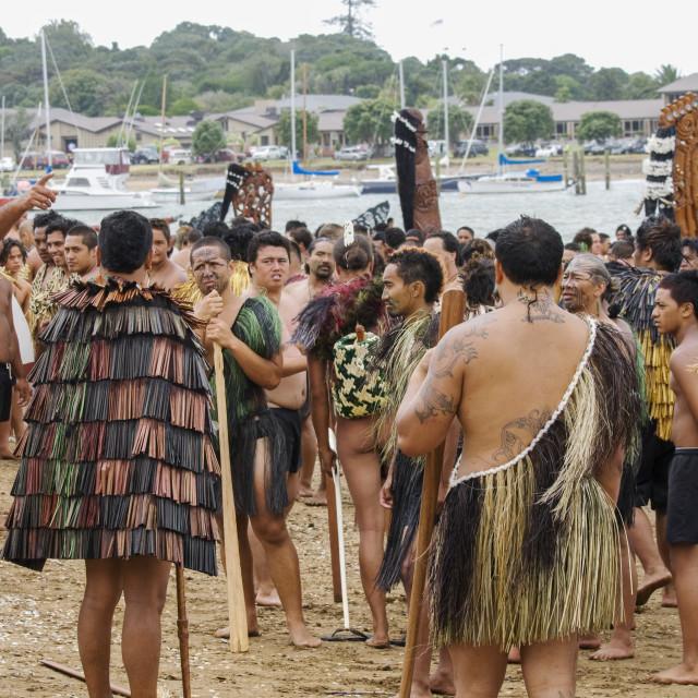 """Maori warriors on the beach"" stock image"