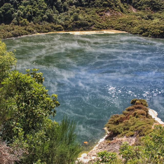 """Steam at a lake in Waimangu"" stock image"