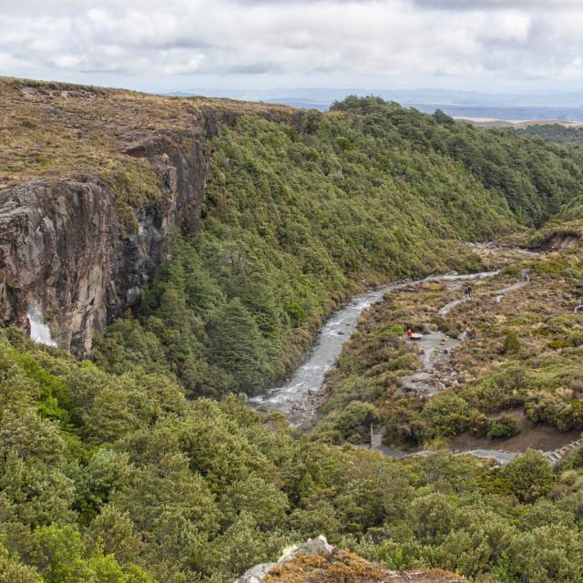 """Hiking path near waterfall"" stock image"