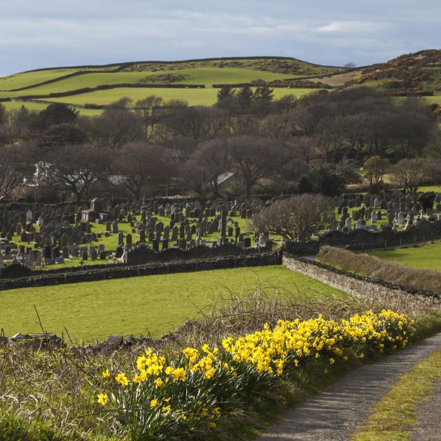 """Kirk Maughold Church - Isle of Man"" stock image"