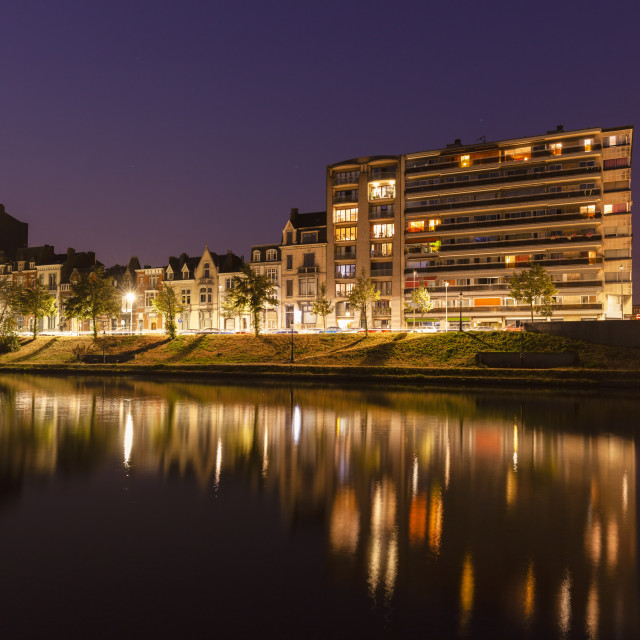 """Panorama of Liege along Meuse River"" stock image"