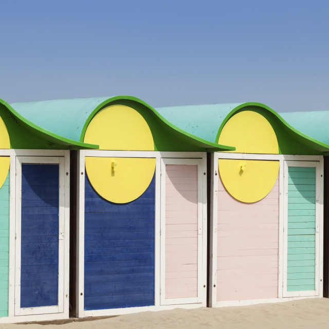 """Beach cabins in Dunkirk"" stock image"