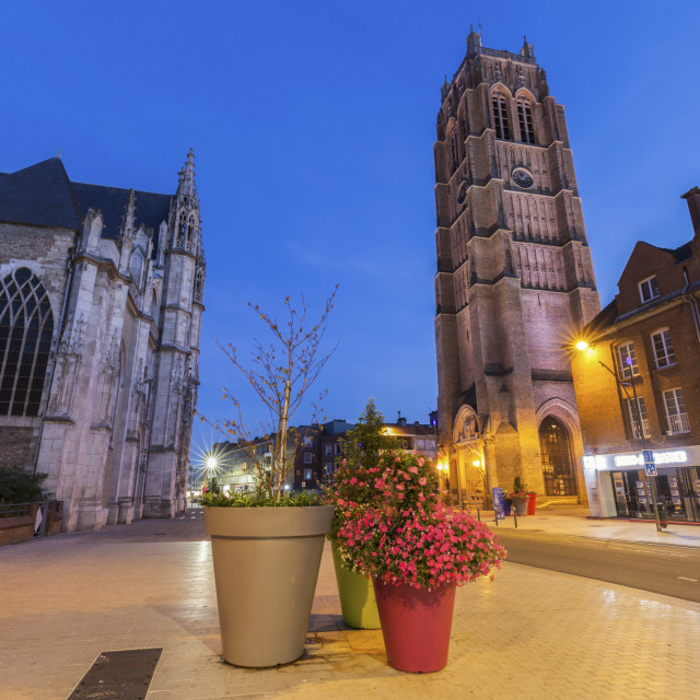 """St Eloi Church and Belfry in Dunkirk"" stock image"