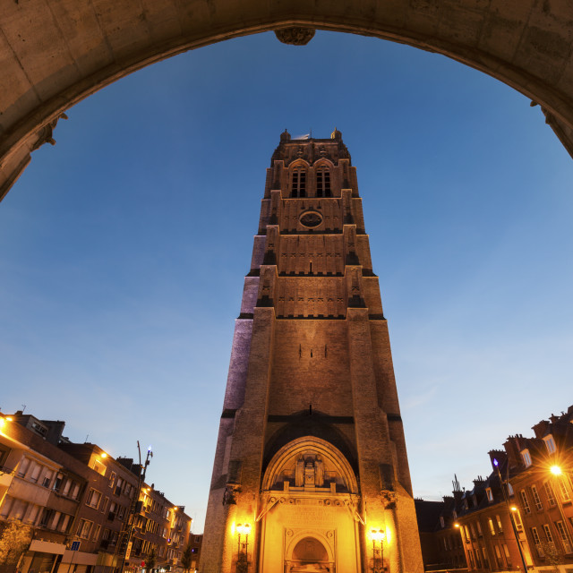 """Belfry of St Eloi Church in Dunkirk"" stock image"