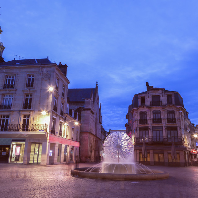 """St James Church and fountain in Reims"" stock image"