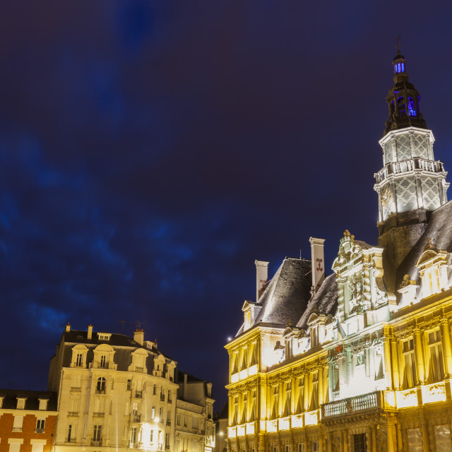 """Reims City Hall at night"" stock image"