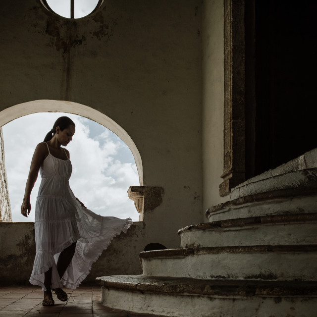 """a lady in a white dress in a franciscan monastery in mexico"" stock image"