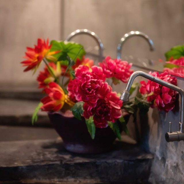 """""""Modern Bathroom or toilet counter with flowers"""" stock image"""