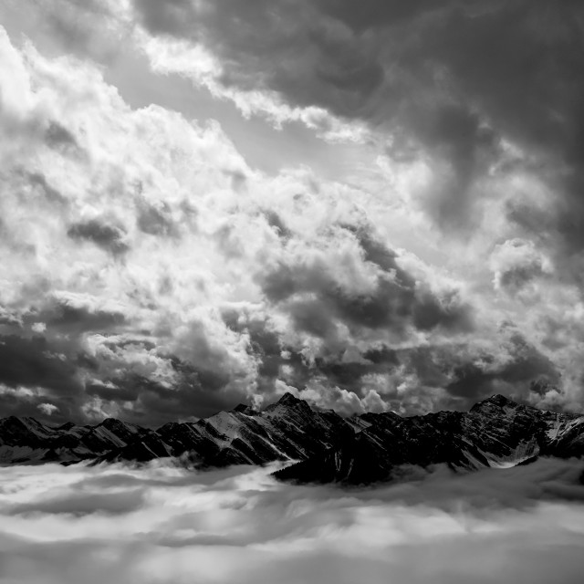 """""""Banff's sea of clouds"""" stock image"""
