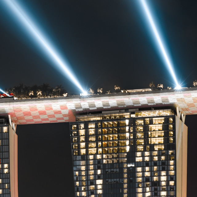 """Checked pattern Marina Bay Sands"" stock image"