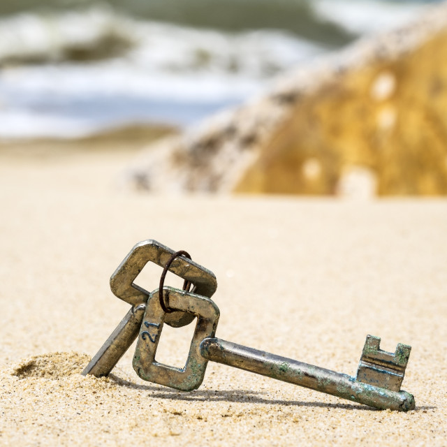 """Old Keys in Sand"" stock image"