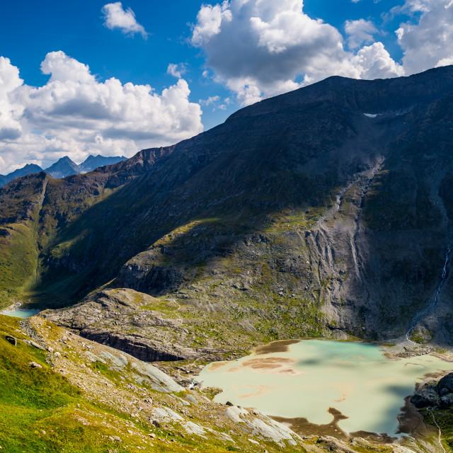 """""""Sandersee glacial lake below Mount Grossglockner"""" stock image"""
