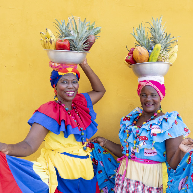 """""""Palanquera women in Cartagena city, Colombian Caribbean"""" stock image"""
