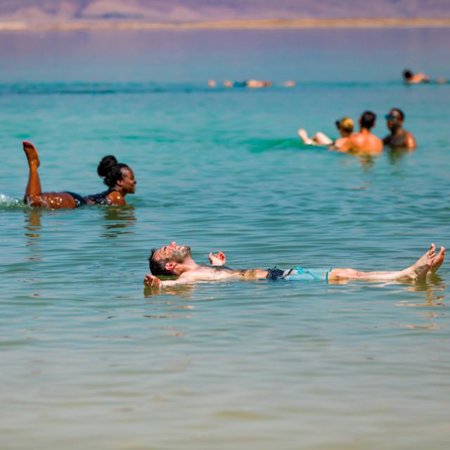 """Fun in the Dead Sea in Israel"" stock image"