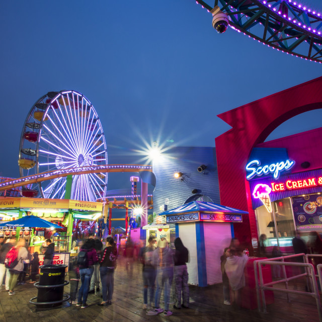 """Santa Monica Pier, Pacific Park, Beach, Santa Monica, Los Angeles,..."" stock image"