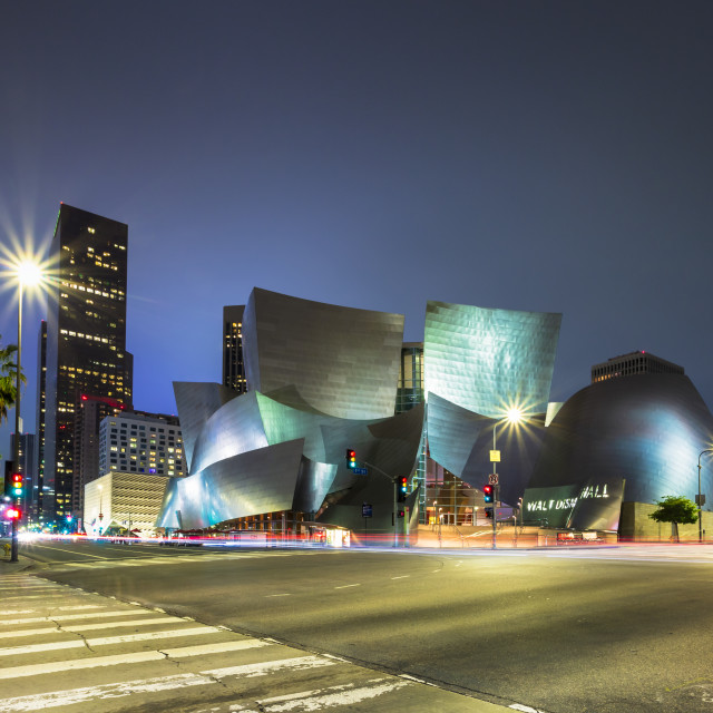 """Walt Disney Concert Hall, Downtown Los Angeles city at night, California,..."" stock image"