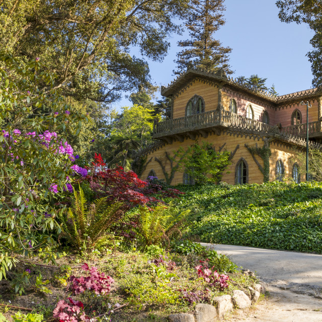 """""""Chalet and Garden of the Countess D'Edla inside the Pena national park,..."""" stock image"""