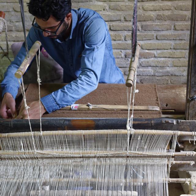 """Weaver. Nain city. Ispahan province. Iran."" stock image"