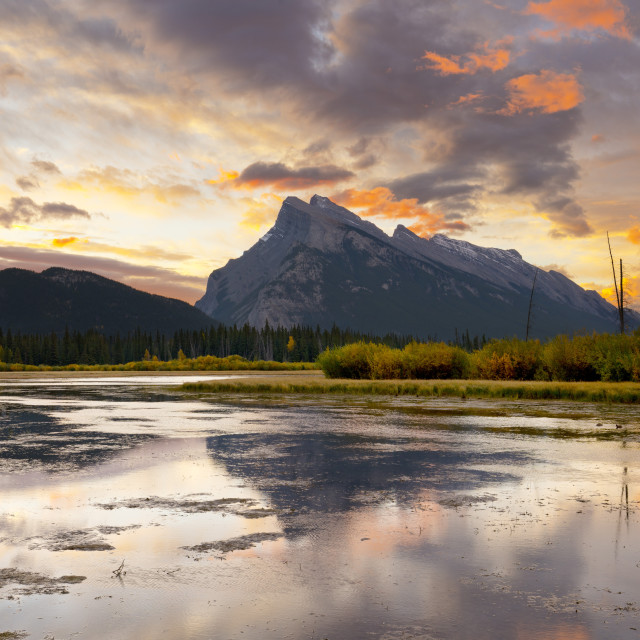 """Mount Rundle and Vermillion Lakes at Sunrise, Banff National Park, Alberta,..."" stock image"