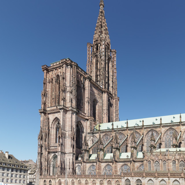 """""""Place de la Cathedrale and Strasbourg Cathedral Notre Dame, UNESCO World..."""" stock image"""