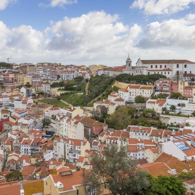 """View from São Jorge Castle over the city centre, Lisbon, Portgual, Europe"" stock image"