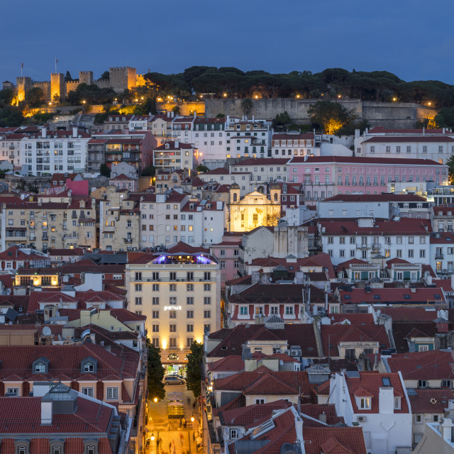 """""""View from the Santa Justa Lookout over the city centre and the São Jorge..."""" stock image"""
