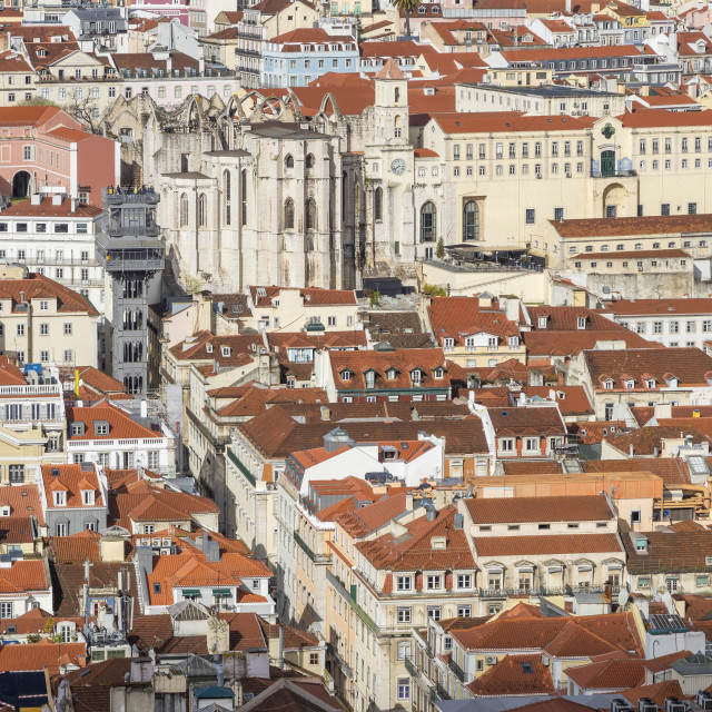 """""""View from São Jorge Castle to the Santa Justa Elevator and the Carmo..."""" stock image"""