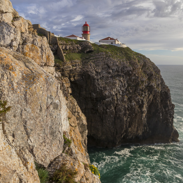 """Lighthouse at Cape Saint-Vincent, Sagres, Algarve, Portugal, Europe"" stock image"