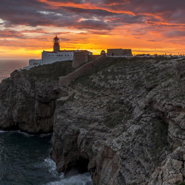 """Cape Saint-Vincent Lighthouse at sunset, Sagres, Algarve, Portugal, Europe"" stock image"