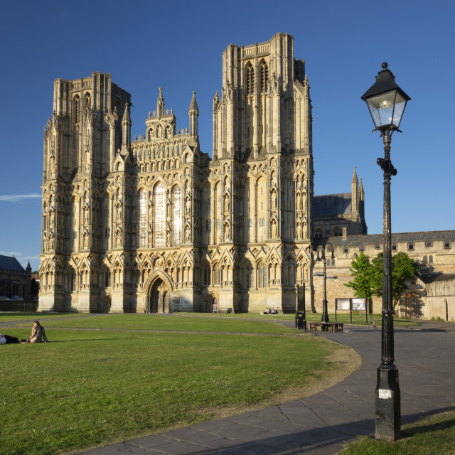 """West Front, Wells Cathedral, Somerset, UK"" stock image"