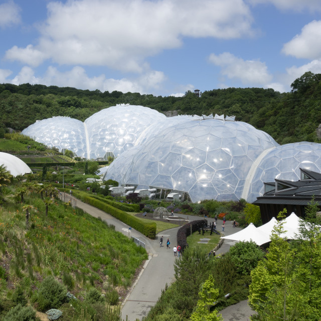 """""""Eden Project, view from entrance path, St Austell, Cornwall, UK"""" stock image"""