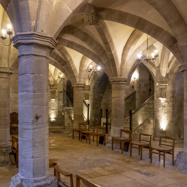 """""""Crypt looking NW, Hereford Cathedral, Herefordshire, UK"""" stock image"""