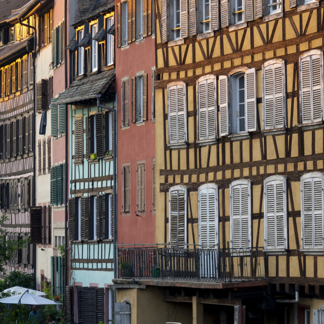 """Medieval buildings beside the canal, Petite France, Strasbourg, France"" stock image"