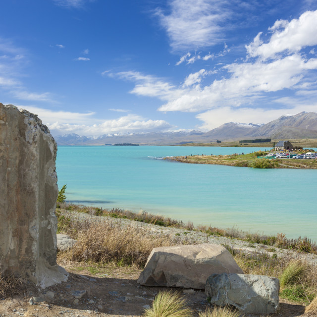 """""""Ruined column by the side of glacial Lake Tekapo, Mackenzie district, South..."""" stock image"""