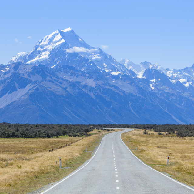 """Mount Cook, empty road Highway 80, Mount cook National Park, South Island,..."" stock image"