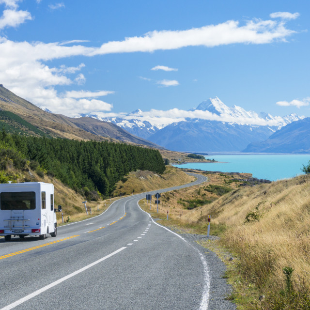 """Motor home, camper van, on a winding road to Mount Cook, Mount Cook national..."" stock image"