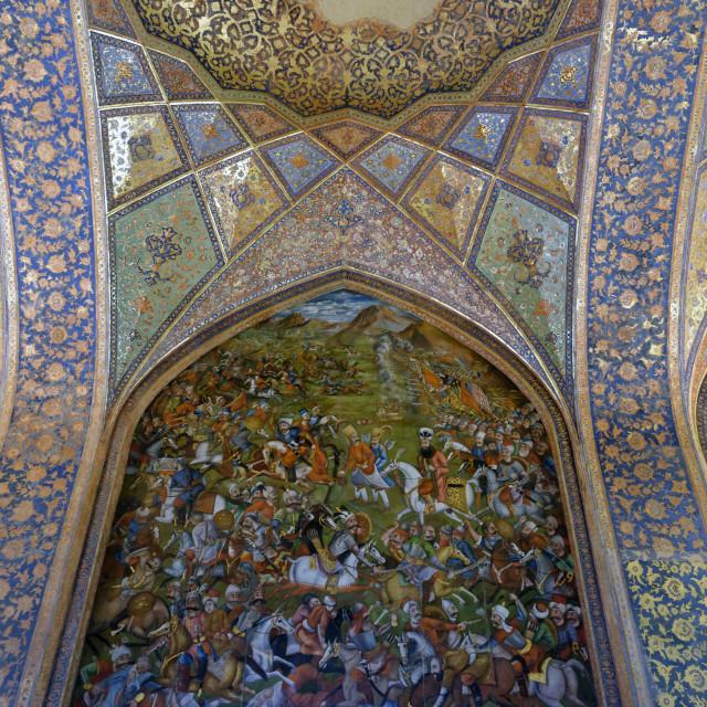 """Fresco of the banquet hall. Chehel Sotoun Palace (Forty Columns). Ispahan. Iran."" stock image"