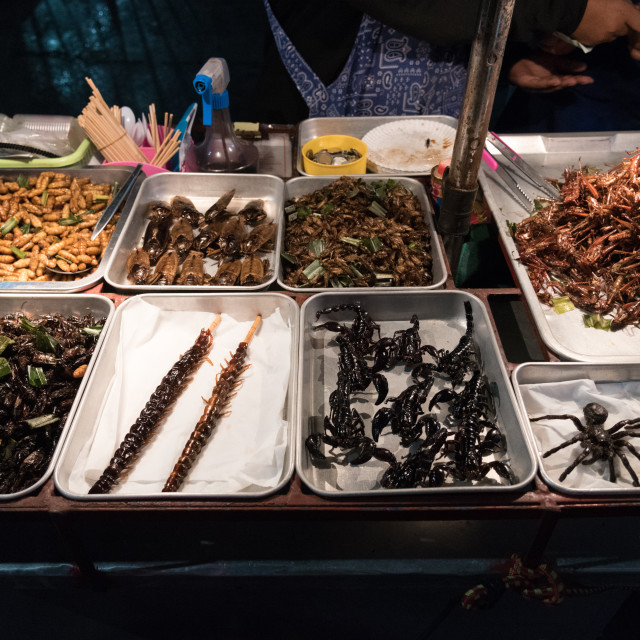 """""""December 2017 - Bangkok Streetfood - Deep fried Insects and bugs"""" stock image"""