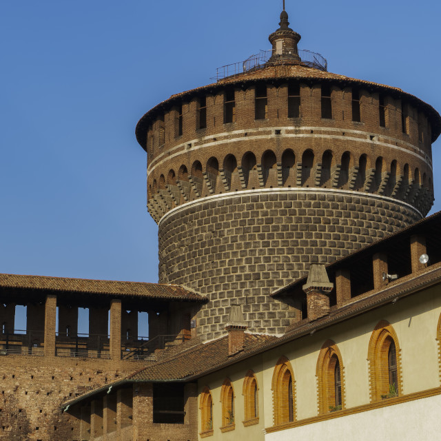 """Milan, Italy Sforza Castle medieval tower. Day view of 15th century Castello..."" stock image"