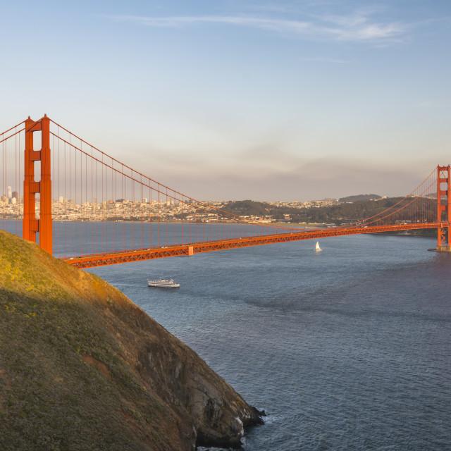 """View of Golden Gate Bridge from Golden Gate Bridge Vista Point at sunset,..."" stock image"