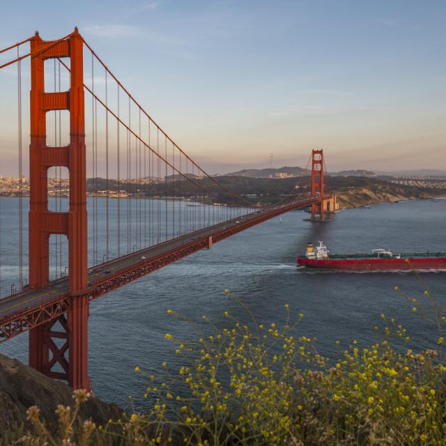 """View of Golden Gate Bridge from Golden Gate Bridge Vista Point at sunset, San..."" stock image"