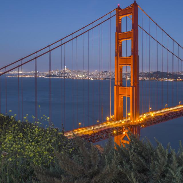 """View of Golden Gate Bridge from Golden Gate Bridge Vista Point at dusk, San..."" stock image"