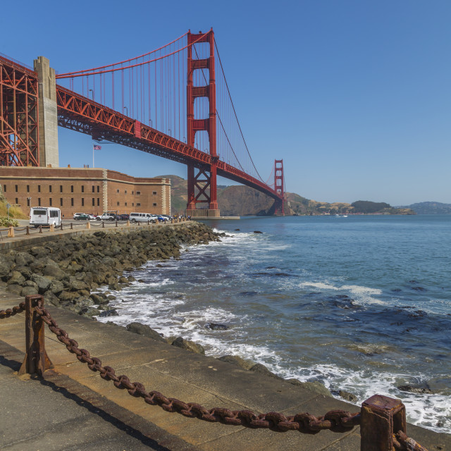 """""""View of Golden Gate Bridge and Fort Point from Marine Drive, San Francisco,..."""" stock image"""