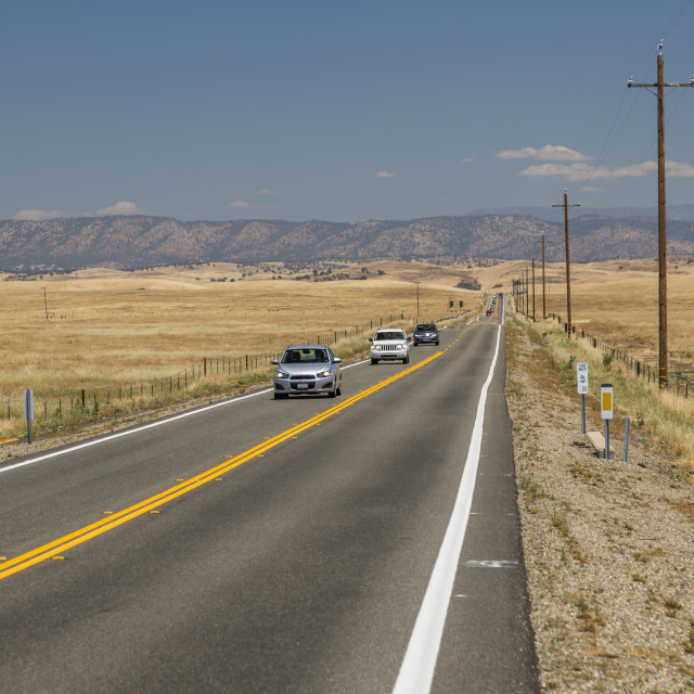 """""""View of Highway 140 near Merced, California, United States of America, North..."""" stock image"""