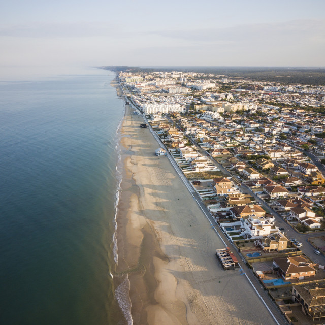 """""""Aerial view of Matalascanas, Huelva District, Andalucia, Spain (drone)"""" stock image"""