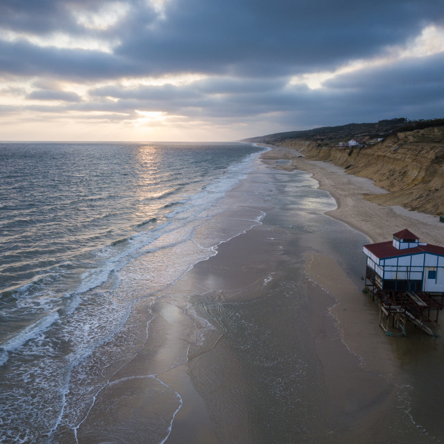 """""""Aerial view of sunset over beach, Matalascanas, Huelva District, Andalucia,..."""" stock image"""