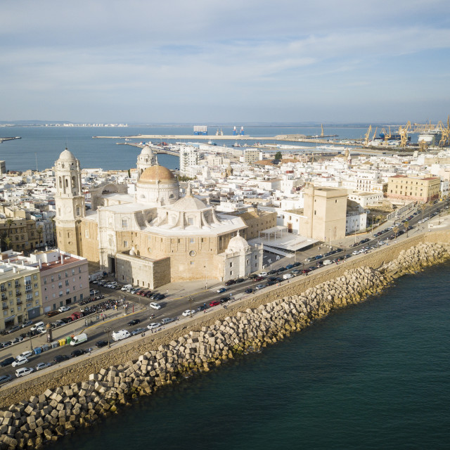 """""""Aerial view of Cadiz Cathedral, Cadiz, Andalucia, Spain (drone)"""" stock image"""
